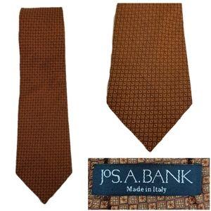 Jos A Bank Men Silk Tie Italy Art Deco Orange Red